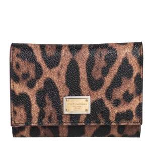 Dolce & Gabbana Black/Brown Leopard Print Coated Canvas Trifold Wallet