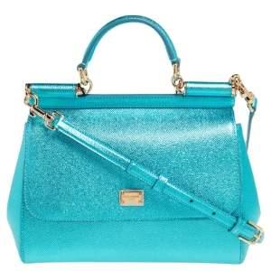 Dolce & Gabbana Metallic Celeste Leather Medium Miss Sicily Top Handle Bag