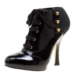 Dolce & Gabbana Black Leather/Stretch Fabric Stud Detail Lace Up Ankle Booties Size 38.5