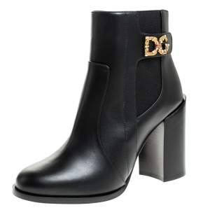 Dolce & Gabbana Black Leather Logo Detail Ankle Boots Size 40