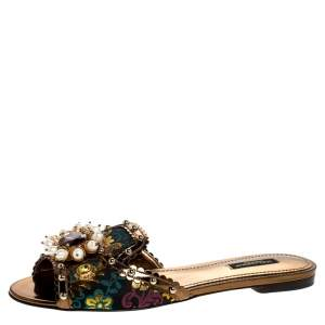 Dolce & Gabbana Multicolor Floral Brocade Fabric And Patent Leather Trim Faux Pearl Embellished Flat Slides Size 36.5
