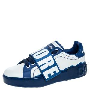 Dolce & Gabbana Blue/White Elastic Logo Leather Melt Portofino Sneakers Size 36