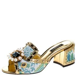 Dolce & Gabbana Multicolor Brocade Fabric And Patent Leather Trim Crystal Embellished Open Toe Sandals Size 37.5