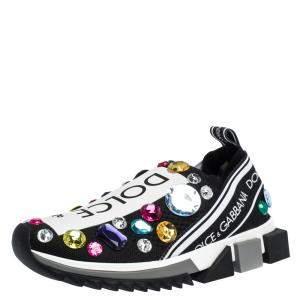 Dolce & Gabbana Black/White Stretch Jersey Crystal Embellished Slip On Sneakers Size  38