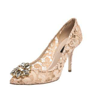 Dolce & Gabbana Pink Lace Jeweled Embellishment Pointed Toe Pumps Size 39