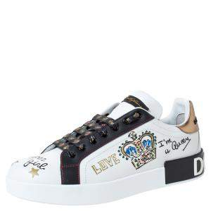 Dolce & Gabbana White Leather Crown Patch Lace Up Sneakers Size 41