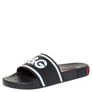 Dolce & Gabbana Black Leather and Rubber Slides Size 40