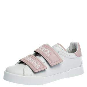 Dolce & Gabbana White/Pink Leather Logo Velcro Straps Sneakers Size 40.5
