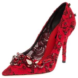 Dolce & Gabbana Red Lace Crystal Embellished Pointed Toe Pumps Size 39