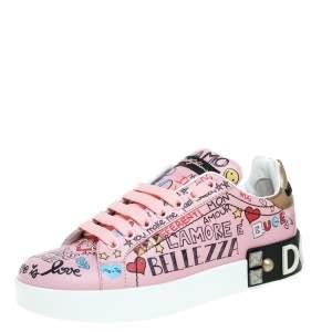 Dolce & Gabbana Pink Leather Portofino Graffiti Print Low Top Sneakers Size 36.5