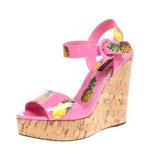 Dolce & Gabbana Pink Patent Pineapple Print Cork Platform Wedge Sandals Size 36
