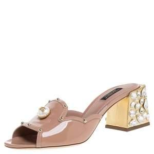 Dolce & Gabbana Beige Patent Leather Crystal Embellishment Block Heel Mules Size 38.5