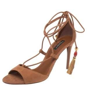 Dolce & Gabbana Brown Suede Pom Pom Detail Tie Up Sandals Size 38.5