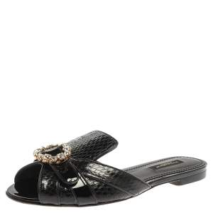 Dolce & Gabbana Black Snakeskin Effect Leather and Patent Leather Crystal Embellished Flat Slide Sandals Size 36