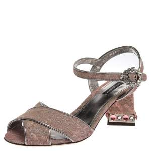 Dolce & Gabbana Pink Glittered Fabric Criss Cross Jewel Embellished Heel Ankle Strap Sandals Size 39