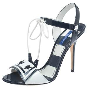 Dolce & Gabbana Navy Blue/White Patent Leather Keira Ankle Tie Open Toe Sandals Size 37.5