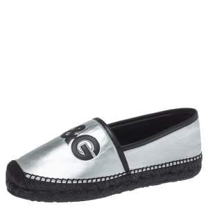 Dolce & Gabbana Silver/Black Leather I Love DG Print Espadrille Flats Size 41