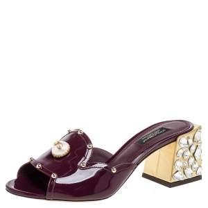 Dolce & Gabbana Burgundy Patent Leather Crystal Embellishment Block Heel Mules Size 37