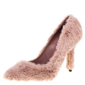 Dolce & Gabbana Old Rose Faux Fur Pumps Size 38