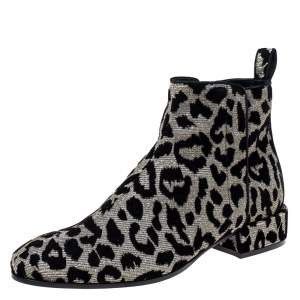 Dolce & Gabbana Black/Silver  Animal Print Lurex and Velvet Ankle Boots Size 36