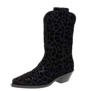 Dolce & Gabbana Black Animal Print Lurex and Velvet Cowboy Boots Size 37.5