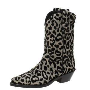 Dolce & Gabbana Black/Silver Animal Print Lurex and Velvet Cowboy Boots Size 36