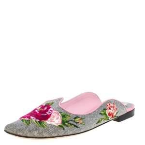 Dolce & Gabbana Silver Rose Embroidered Lurex Fabric Aladino Peony Mules Size 36.5