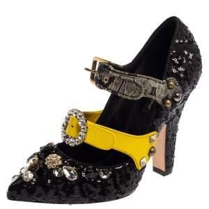 Dolce & Gabbana Black Sequins Embellished Buckle Strap Size 39