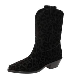 Dolce & Gabbana Black Animal Print Lurex and Velvet Cowboy Boots Size 38.5