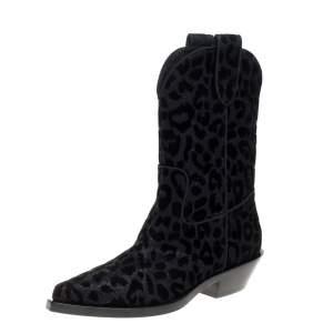 Dolce & Gabbana Black Animal Print Lurex and Velvet Cowboy Boots Size 36