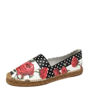 Dolce & Gabbana Multicolor Floral Print Leather Slip On Espadrilles Size 40