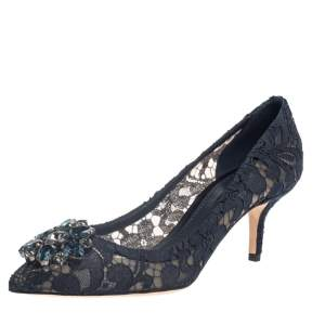 Dolce & Gabbana Blue Lace Bellucci Pumps Size 38.5