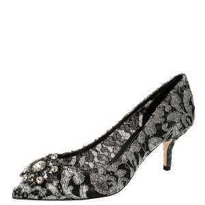 Dolce & Gabbana Silver/Black Lace Bellucci Pumps Size 38