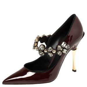 Dolce & Gabbana Burgundy Patent Leather Cardinale Mary Jane Pumps Size 39