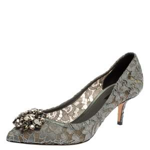 Dolce & Gabbana Grey Lace Bellucci Crystal Embellished Pointed Toe Pumps Size 40.5