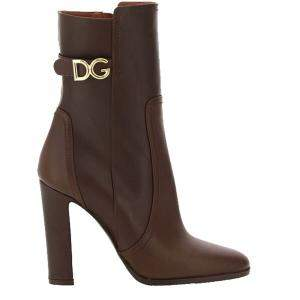 Dolce & Gabbana Brown Cowhide dg logo Ankle boots Size IT 38