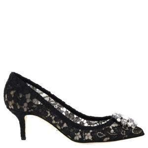 Dolce & Gabbana Black Taormina lace Belluci Pumps Size IT 39