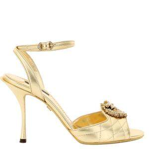 Dolce & Gabbana Gold Leather Keira Devotion Sandals Size EU 39