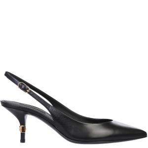 Dolce & Gabbana Black Leather Slingback Sandals Size IT 36.5