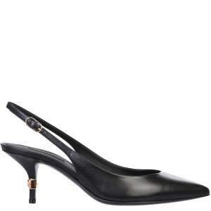 Dolce & Gabbana Black Leather Slingback Sandals Size IT 37.5