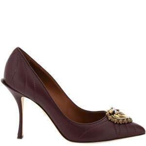Dolce & Gabbana Brown Matelasse Nappa Leather Devotion Pumps Size IT 36