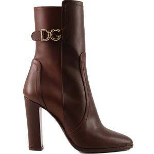 Dolce & Gabbana Brown Cowhide DG logo Ankle boots Size 37.5