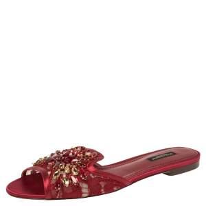 Dolce & Gabbana Burgundy Lace Crystal Embellished Flats Size 38.5