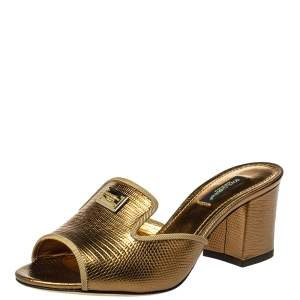 Dolce & Gabbana Metallic Gold Lizard Embossed Leather Mules Sandals Size 36