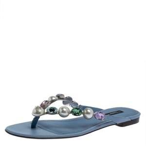 Dolce & Gabbana Blue Leather Crystal Embellished Thong Flat Sandals Size 38