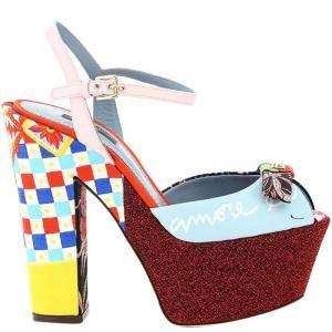 Dolce & Gabbana Multicolour Patchwork Platform Sandals Size IT 37