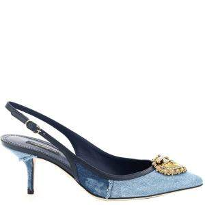Dolce & Gabbana Blue Denim Devotion Slingback Pumps Size IT 37