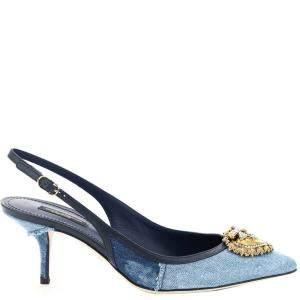 Dolce & Gabbana Blue Denim Devotion Slingback Pumps Size IT 40