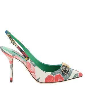 Dolce & Gabbana Multicolor Patchwork Slingback Pumps Size IT 39