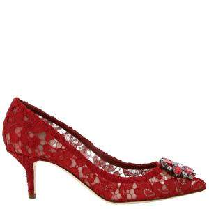 Dolce & Gabbana Red Taormina Lace Bellucci Pumps Size IT 36